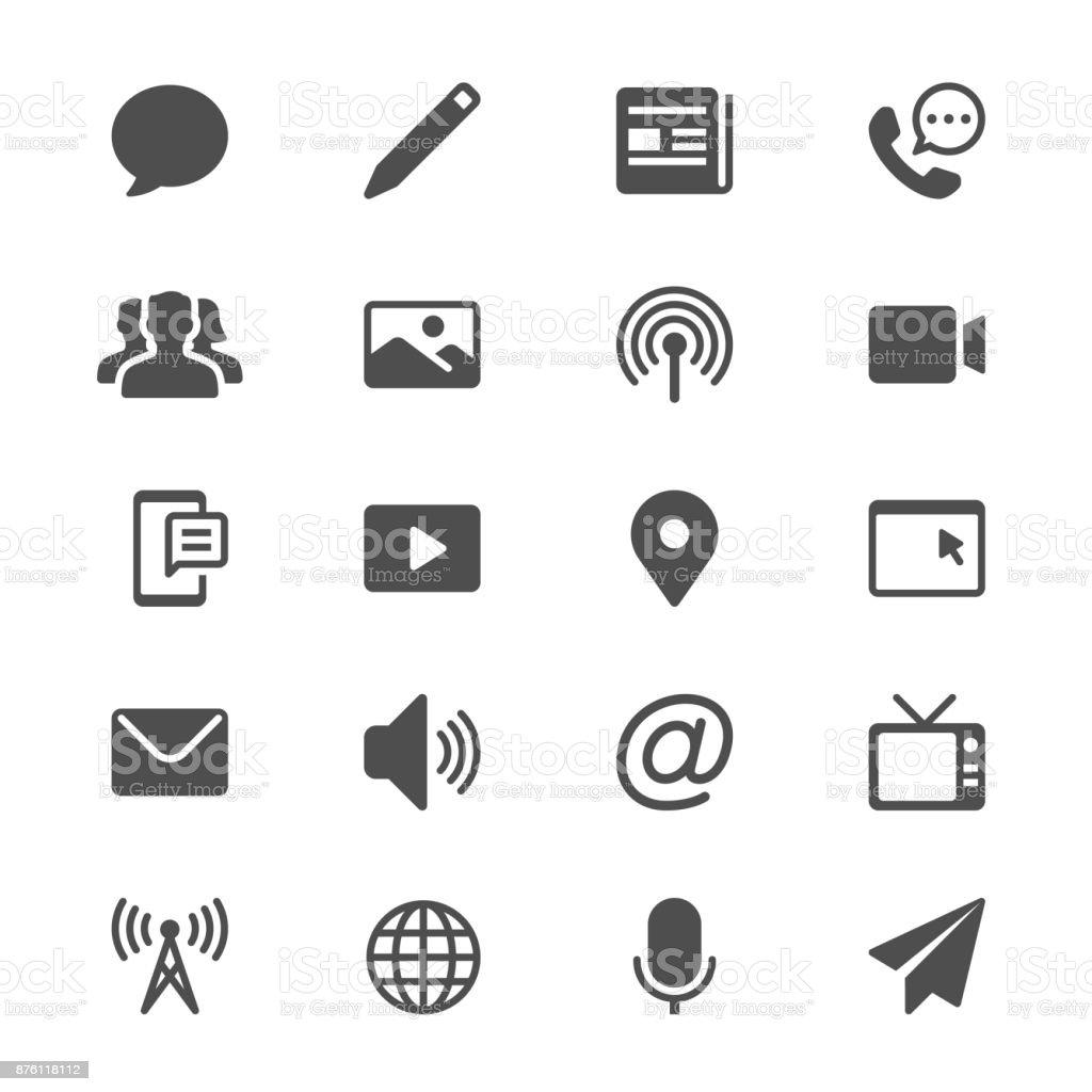 Icônes de glyphe de médias et de la communication - Illustration vectorielle