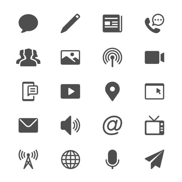 Medien- und Kommunikationswissenschaften Glyph-Symbole – Vektorgrafik