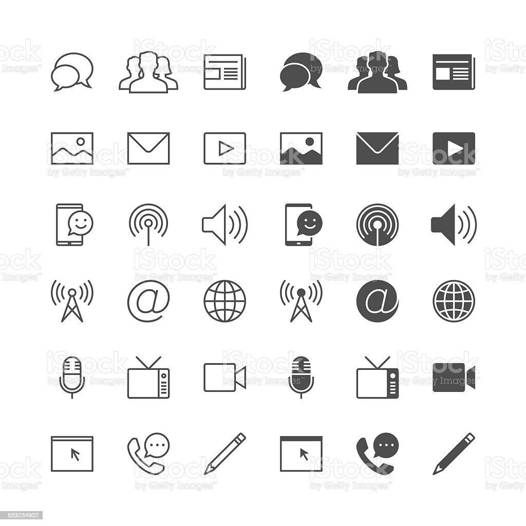 Media and communication icons, included normal and enable state. vector art illustration