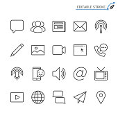 istock Media and communication line icons. Editable stroke. Pixel perfect. 892808286