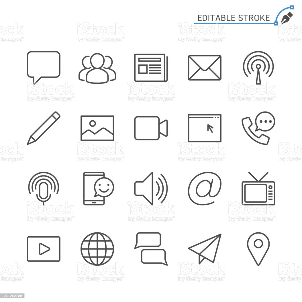 Media and communication line icons. Editable stroke. Pixel perfect. vector art illustration