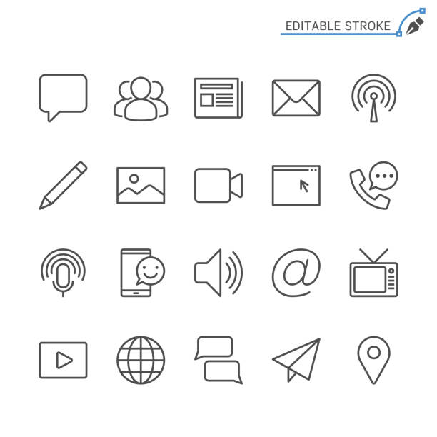media and communication line icons. editable stroke. pixel perfect. - newspaper stock illustrations
