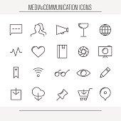 Media and communication minimalistic icons