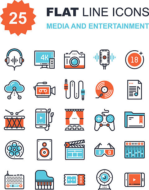 Media and Entertainment Abstract vector collection of flat line media and entertainment icons. Elements for mobile and web applications. performing arts event stock illustrations