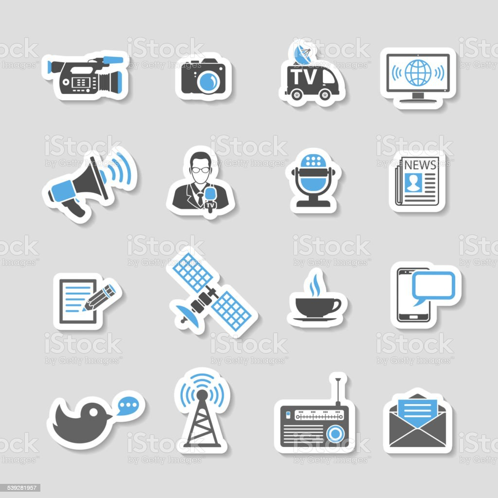 Media and News Icons Sticker Set vector art illustration