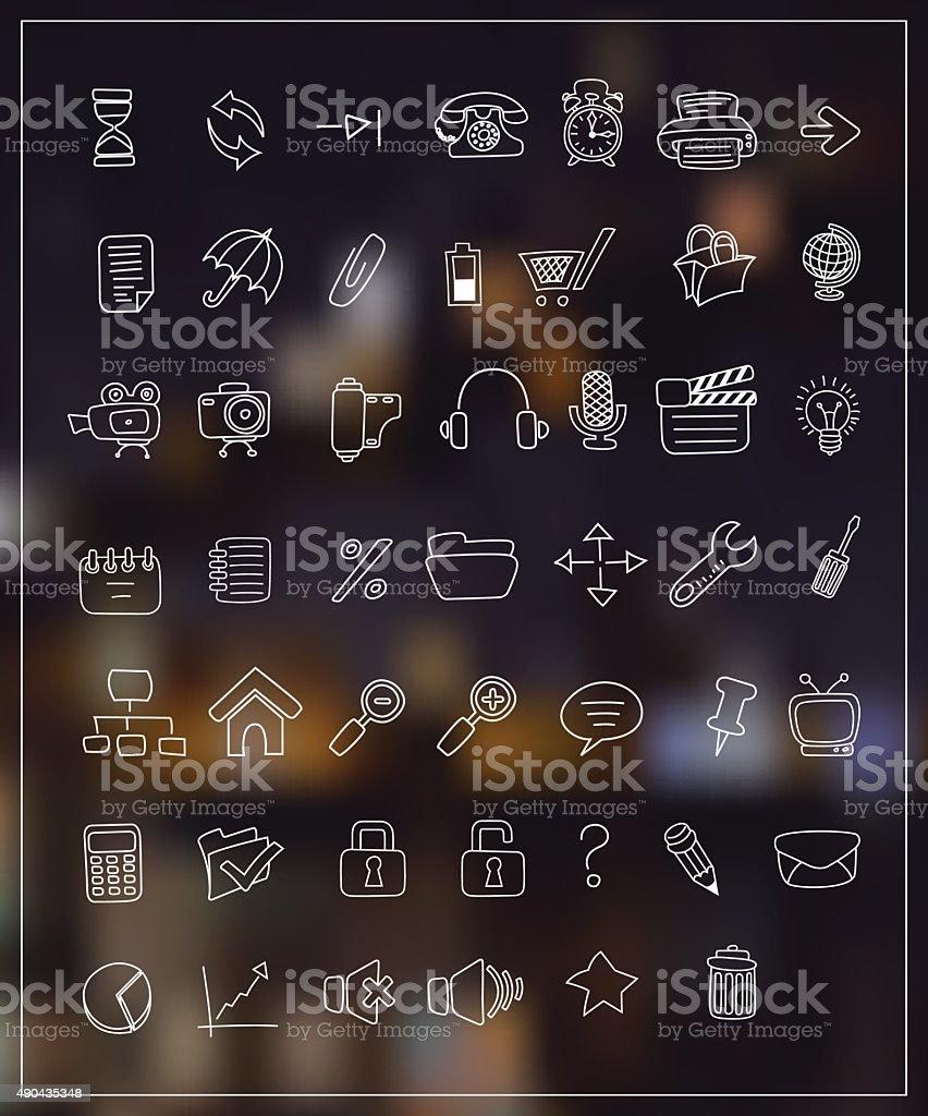 Médias et les icônes de collection dessin de ligne. - Illustration vectorielle