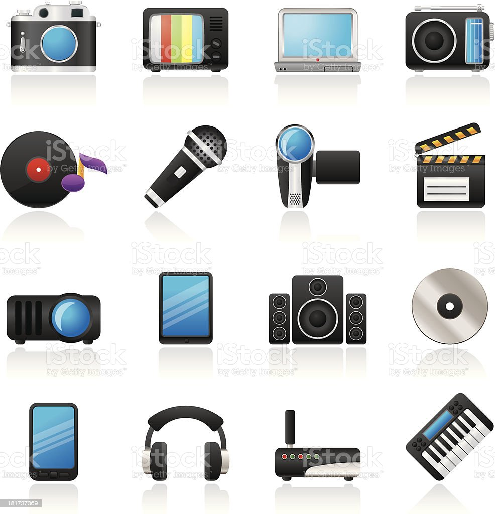 Media and technology icons royalty-free stock vector art