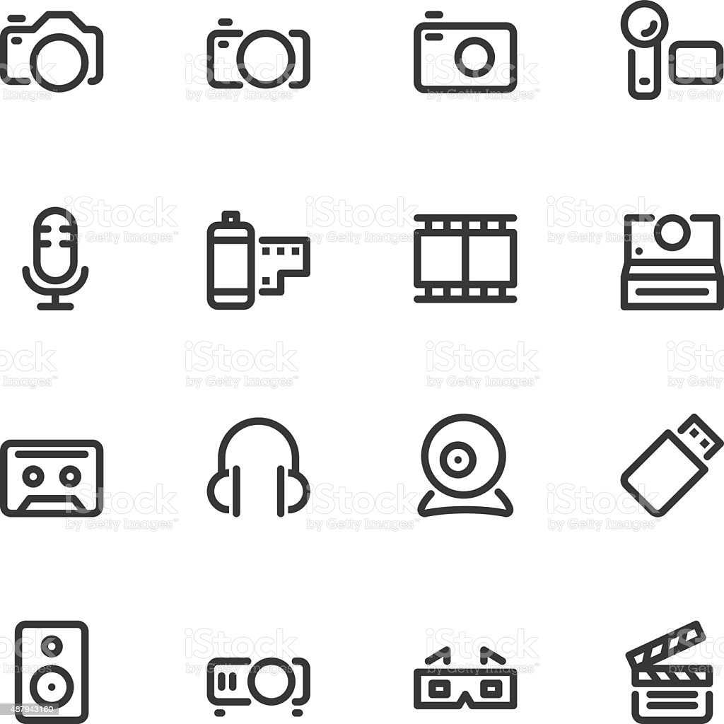 Media and Technology - Line vector art illustration