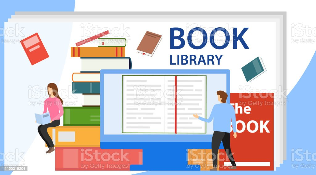 Media book library concept. Vector illustration of online library....