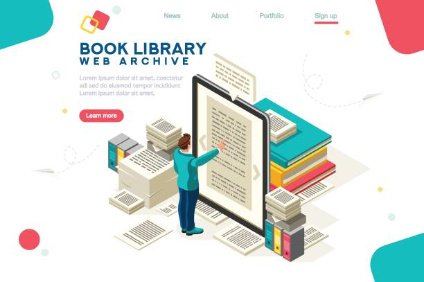 Media Book Library Template Vector Media book library concept. E-book, reading an ebook to study on e-library at school. E-learning online, archive of books. Flat Isometric characters vector illustration. Landing page for web. encyclopaedia stock illustrations