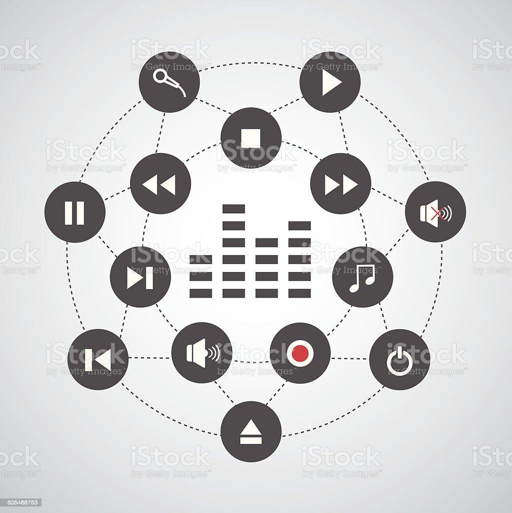 media button symbol vector art illustration