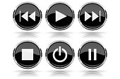 Media buttons. Black round glass buttons with chrome frame. Vector 3d illustration isolated on white background