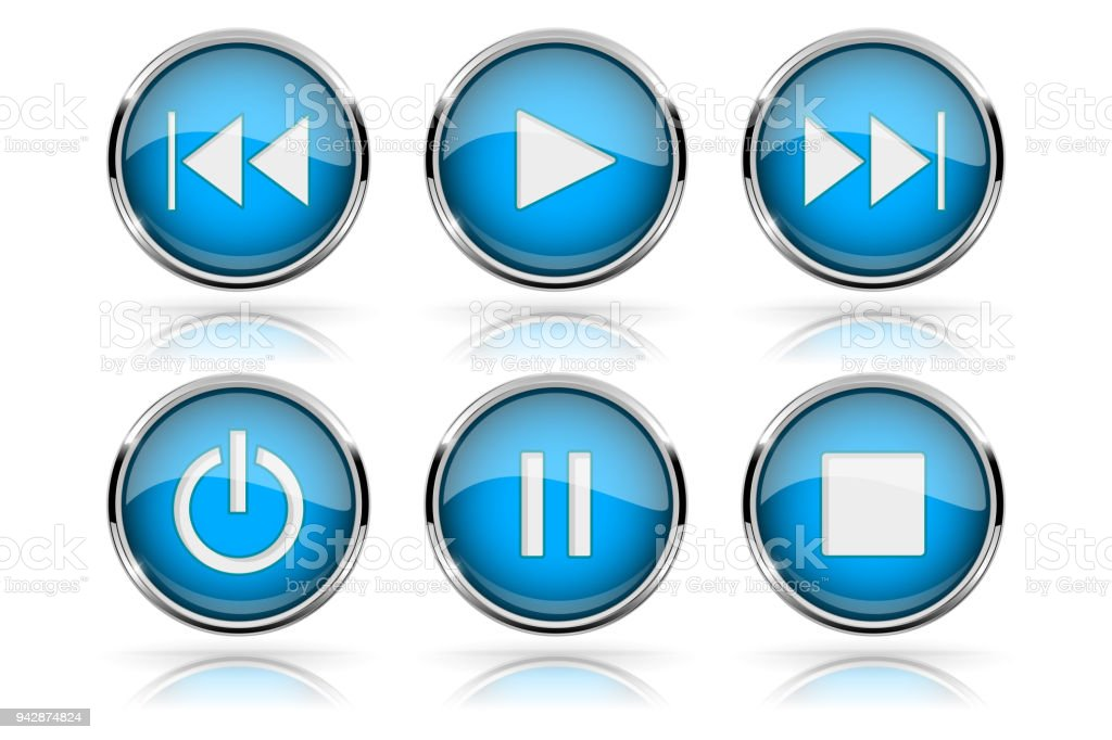 Botones De Medios Botones Azul Redonda De Vidrio Con Marco De Cromo ...