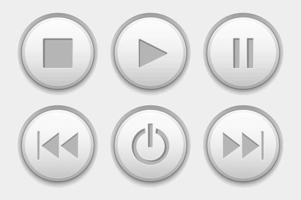 Media buttons. White audio icons set Media buttons. White audio icons set. Vector 3d illustration resting stock illustrations