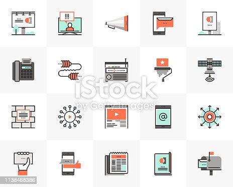 Flat line icons set of media communication, advertising service. Unique color flat design pictogram with outline elements. Premium quality vector graphics concept for web, logo, branding, infographics.