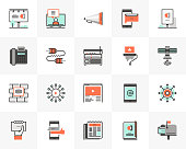Flat line icons set of media communication, advertising service. Unique color flat design pictogram with outline elements. Premium quality vector graphics concept for web, logo, branding, infographics.