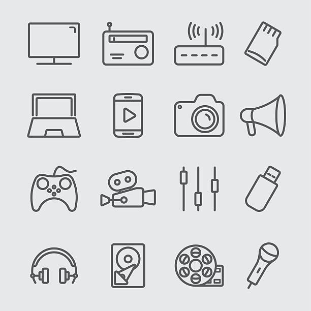 미디어 장치를 꺾은선형 아이콘크기 - 밤생활 stock illustrations