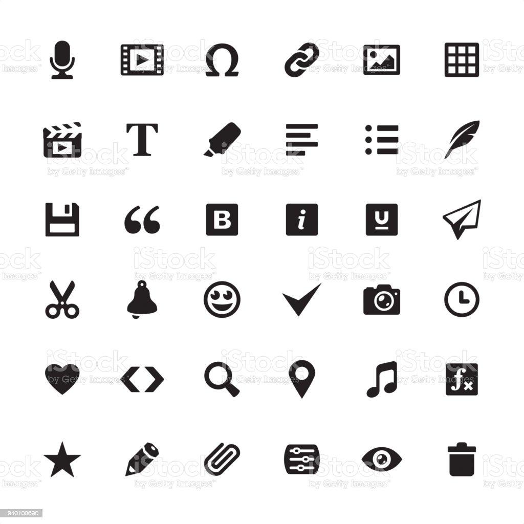 Médias modifier outils - jeu d'icônes - Illustration vectorielle