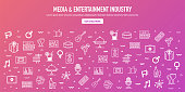 Media entertainment industry outline style web banner design. Line vector icons for infographics, mobile and web designs.