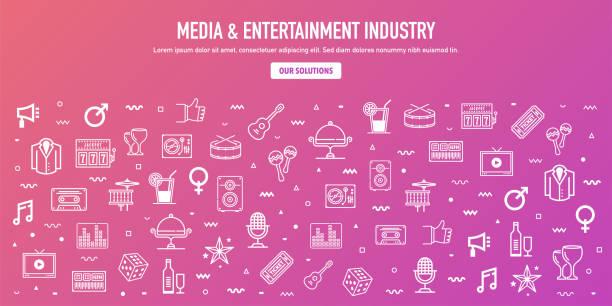 미디어 엔터테인먼트 산업 개요 스타일 웹 배너 디자인 - 밤생활 stock illustrations