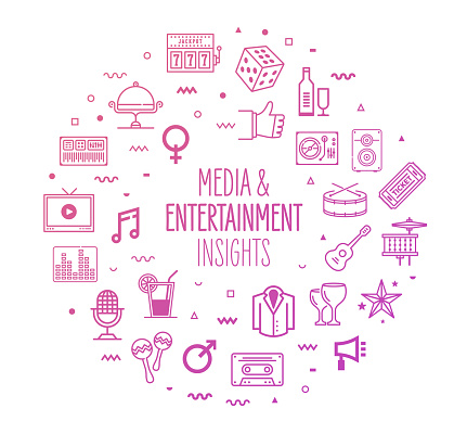 Media Entertainment Insights Outline Style Infographic Design
