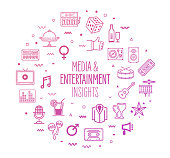 Media entertainment insights outline style symbols on modern gradient background. Line vector icons for infographics, mobile and web designs.