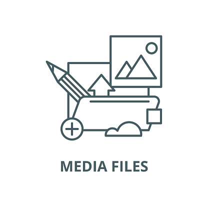 Media files vector line icon, linear concept, outline sign, symbol