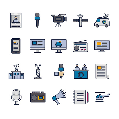 Media filled outline icon style design template