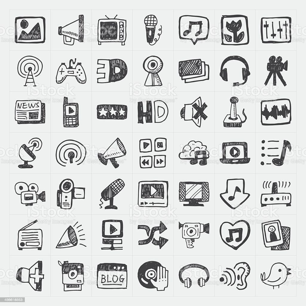 Gekritzel-media-Symbole-set Lizenzfreies gekritzelmediasymboleset stock vektor art und mehr bilder von bleistiftzeichnung