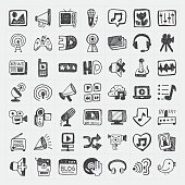 Media icon doodles set in a white backdrop