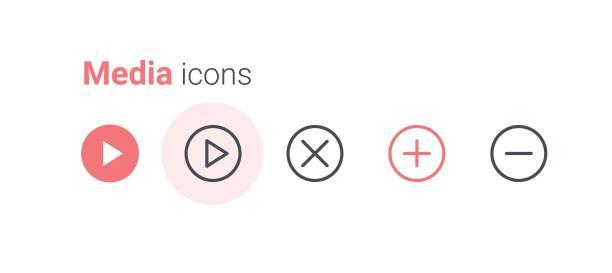 illustrazioni stock, clip art, cartoni animati e icone di tendenza di media icon set - segno meno
