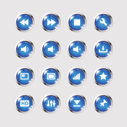Set of media player icons on high glossy round buttons for use in flash and music player interface. Image contains transparency in lights shapes. EPS 10