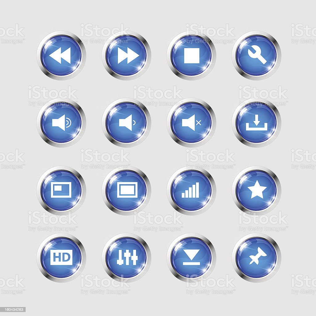 Media icons collection set stock photo