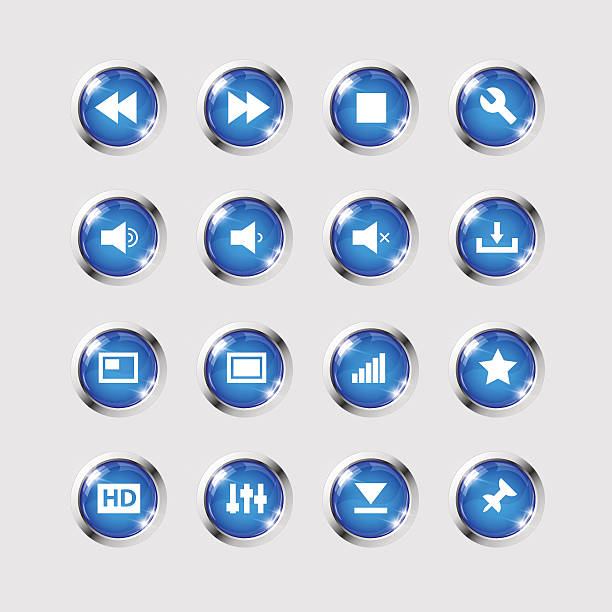 media icons collection set - vectors stock pictures, royalty-free photos & images