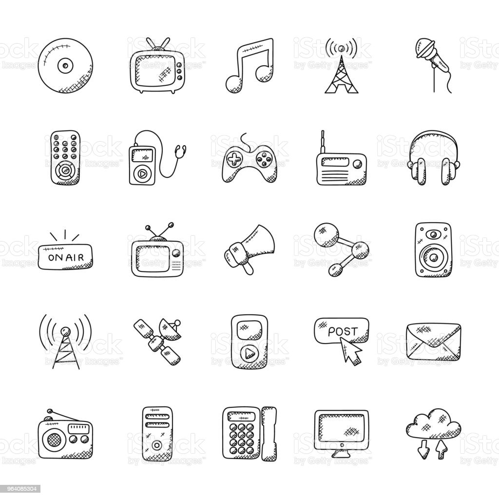 Media Icons Doodle Set - Royalty-free Broadcasting stock vector