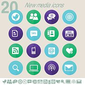 20 media and communication icons, set 2, on flat style design round blue and green buttons, 10 EPS.