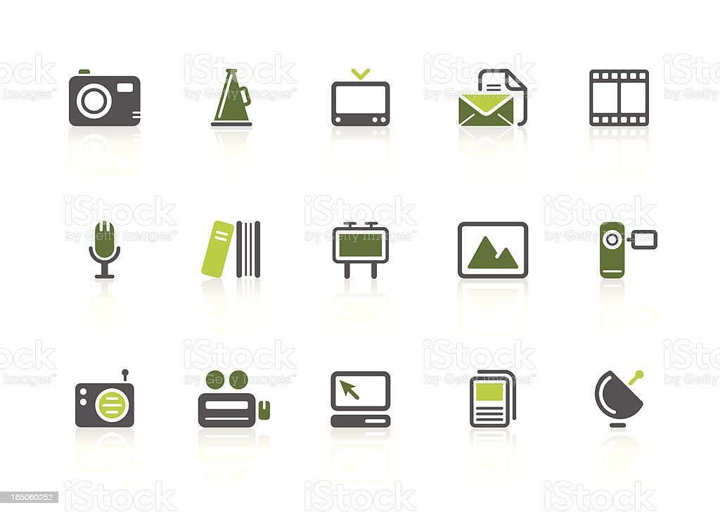 Media icons   lime series royalty-free stock vector art