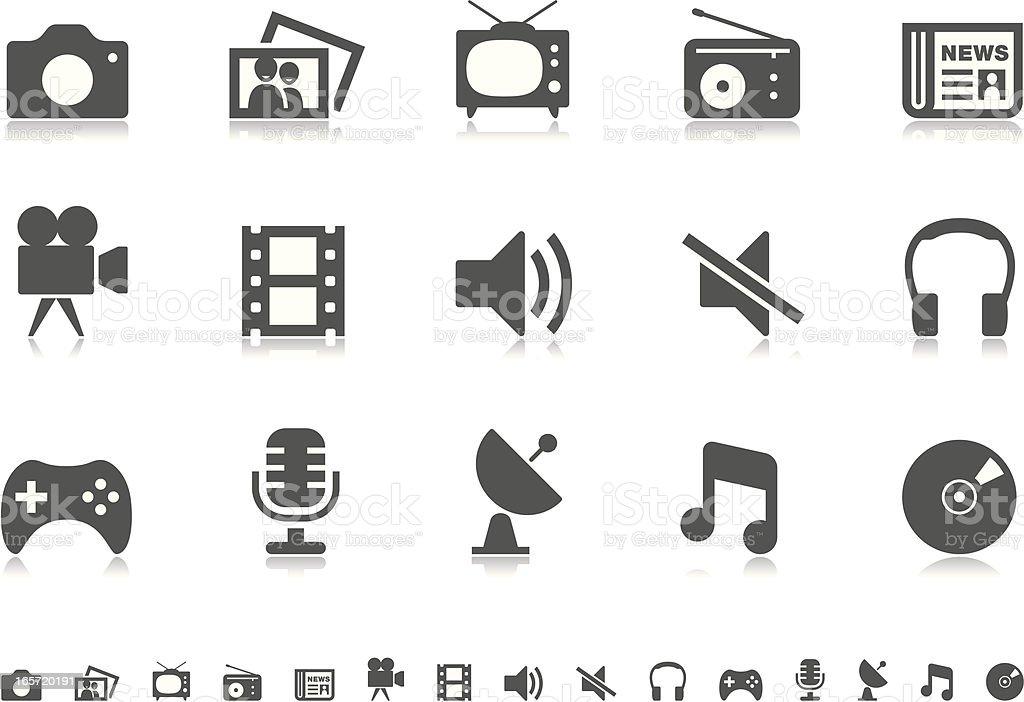 Media icons   Pictoria series vector art illustration