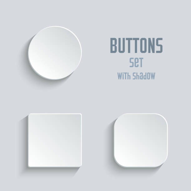 Media icons set - vector white app buttons Vector white blank button set. Round square rounded buttons square composition stock illustrations