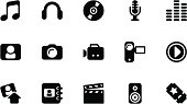 A collection of media icons, in various sizes and formats: