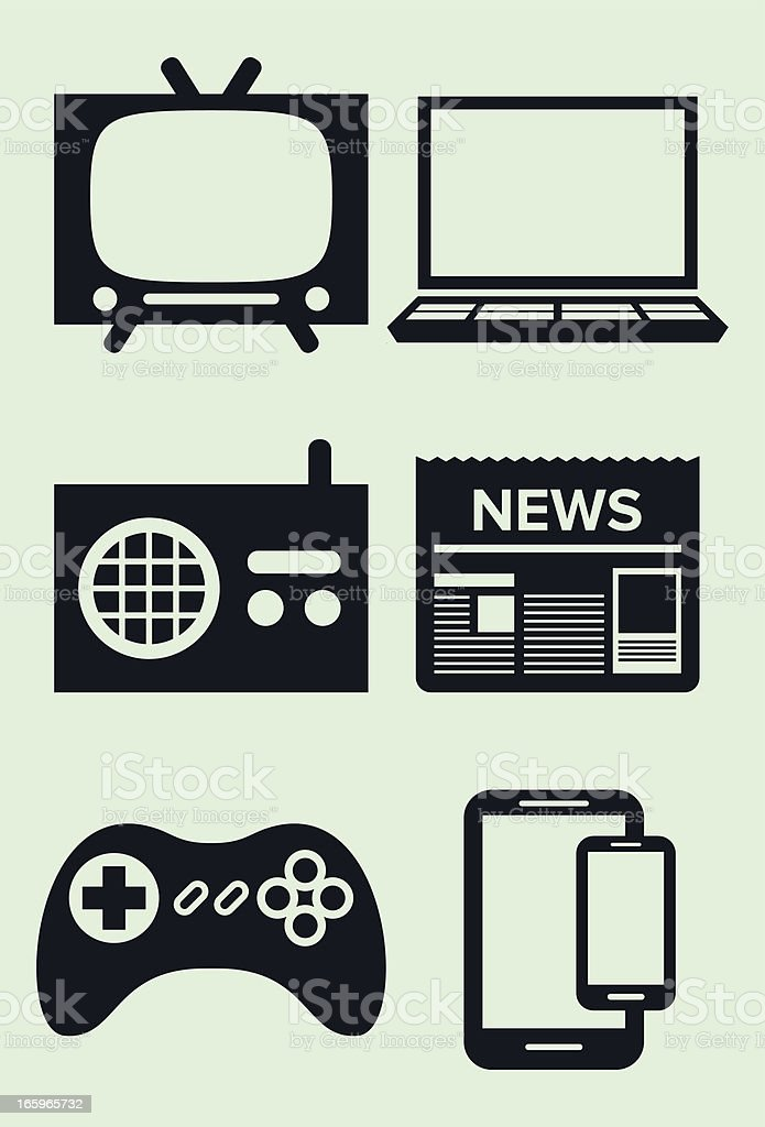 media icons: tv, laptop, newspaper, radio, videogame, phone, tablet vector art illustration