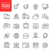 Media, news, editable stroke, outline, icon, icon set, social media, television, radio, newspaper, megaphone