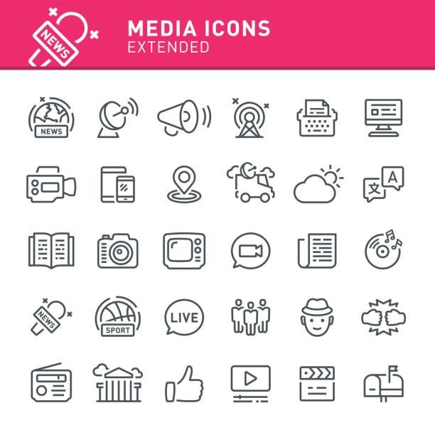 Media Icons Media, news, icon, icon set, television, radio, journalism, social media conceptual symbol stock illustrations