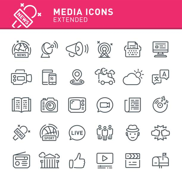 Media Icons Media, news, icon, icon set, television, radio, journalism, social media broadcasting stock illustrations