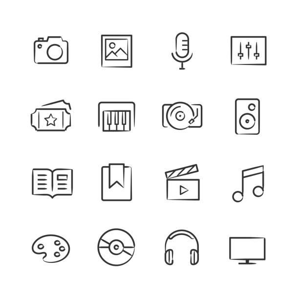 Media Icons—Sketchy Series vector art illustration