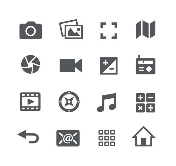media interface-symbole - fotografische themen stock-grafiken, -clipart, -cartoons und -symbole