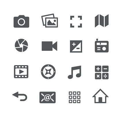 Media Interface Icons - Arte vetorial de stock e mais imagens de Aplicação móvel