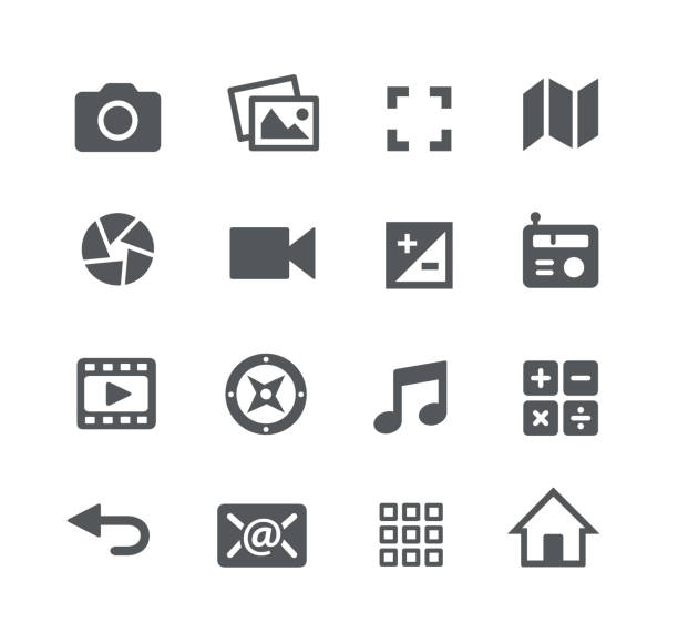 stockillustraties, clipart, cartoons en iconen met media interface pictogrammen - camera