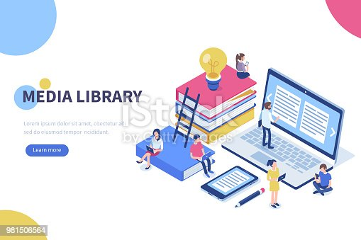 Media book library concept banner with characters. Can use for web banner, infographics, hero images. Flat isometric vector illustration isolated on white background.