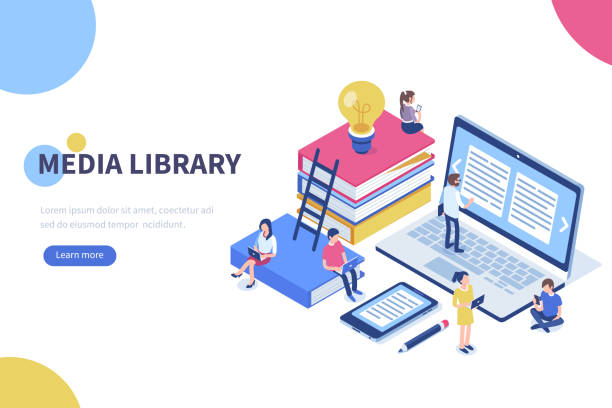 media library Media book library concept banner with characters. Can use for web banner, infographics, hero images. Flat isometric vector illustration isolated on white background. students stock illustrations